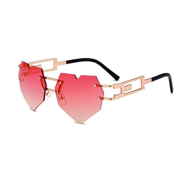 Heart Sunglasses Women Hollow Metal Frame Rimless Love Shape Steampunk Sun Glasses Clear Rose Gold Brand Cool Cat Eye Eyewear