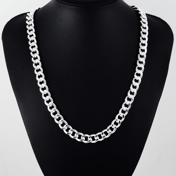 Men's 22'' 55cm 10MM Hip Hop Chain Necklace 925 stamped silver color Jewelry Statement Necklace For Party N184