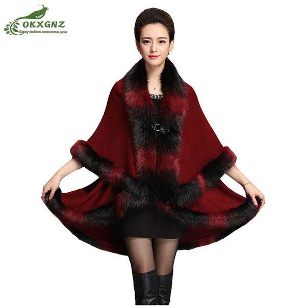 Winter warm fake fox hair fur animal long knitted shawl oversized cashmere sweater knit shirt ladies cardigan jacket OKXGNZ