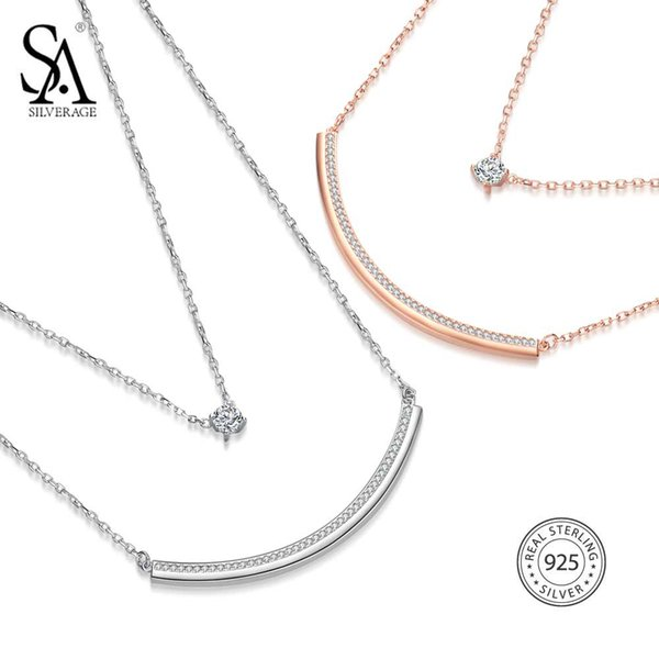 SA SILVERAGE 925 Sterling Silver Two Layer Chain Necklaces Long Bar Pendants Necklace With Round Rhinestone Gold-Color/Silver Y18102910