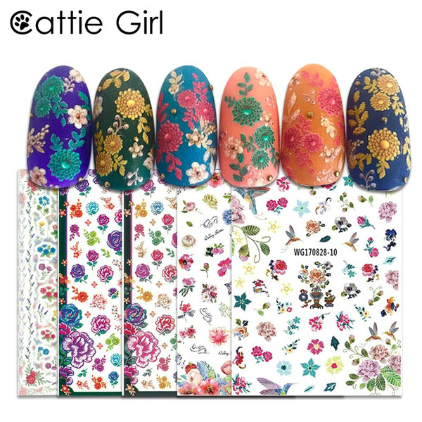 1 Sheet Flower Bee 3D Nail Art Transfer Stickers Japanese Nail Art Designs Floral Professional Manicur for Decorations