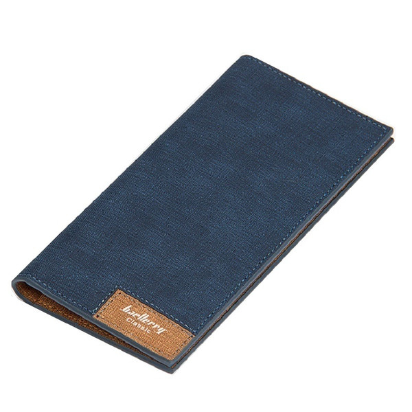 retro canvas Men brand long Wallet vintage denim Leather purse cross pattern Male Clutch Bag slim thin coin Holder for student