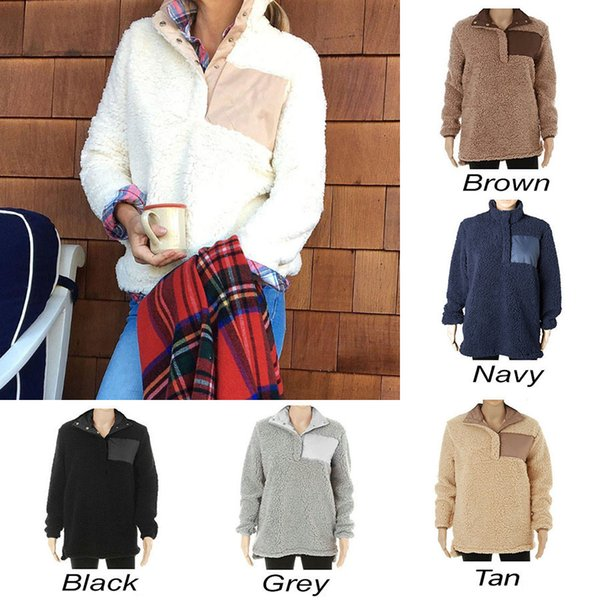 best selling Sherpa Pullover Women big girls Winter autumn Fleece Sweatshirt 2018 new Half Button Sweaters 7 Colors DHL C3447