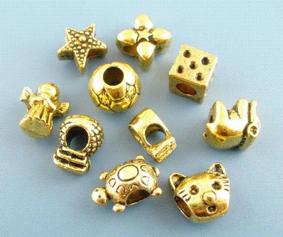 ¡Gran venta! 4x20PCs encantos europeos de los encantos aptos del tono de oro mezclados pulsera europea del encanto para la joyería