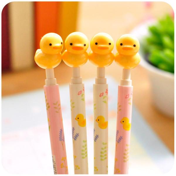 2 pcs Kawaii Ball Pens Yellow ducks Ballpen Ballpoint Pens boligrafos For School material escolar papelaria Stationery 0.5
