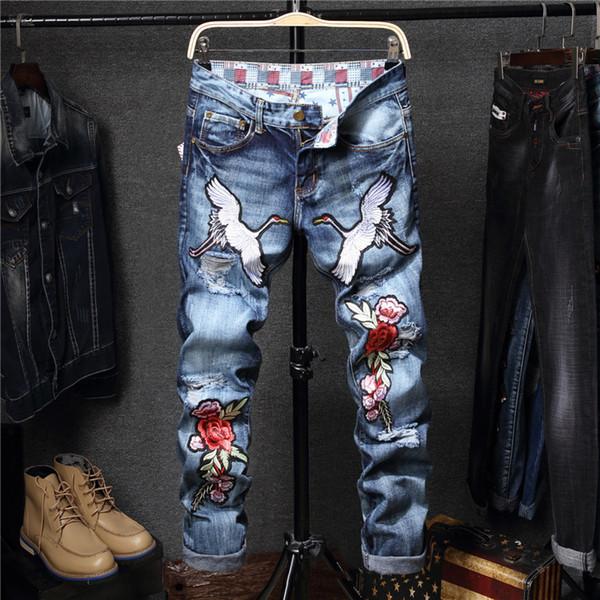 Ricamo da uomo Gru Fiore modello Jeans Primavera Casual Slim Skinny Jeans Denim Pantaloni Classic Cowboys Jean Male Homme