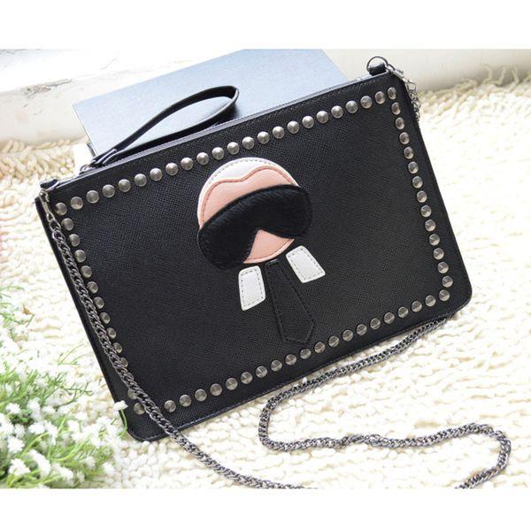 Fashion Designer Borse da donna Borse a spalla portafoglio rivetto catena frizione avvolgere lembo Messenger Bag borsa del partito per la ragazza BA059 Y18110101