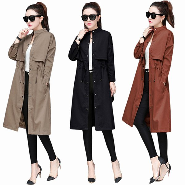 VogorSean Autumn And Winter New Women Trench Coat 2018 Medium Long Section Loose Large Size office Ladies Trenchs Black/khaki S18101203