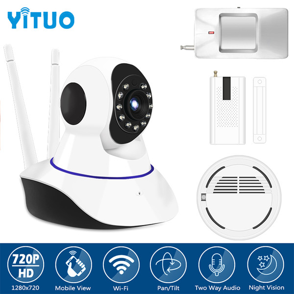 Alarm System kits hd 720P IP Camera with PIR Motion Sensor Smoke Detector Window Sensor Suitabe 433mhz GSM Home Alarm YITUO