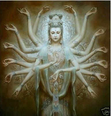 Belle Encadrée Artisanat Moderne Décoration Murale Art peinture à l'huile Sur Toile Dunhuang Kwan-yin Mille-main Dieu multi taille peut être personnalisé