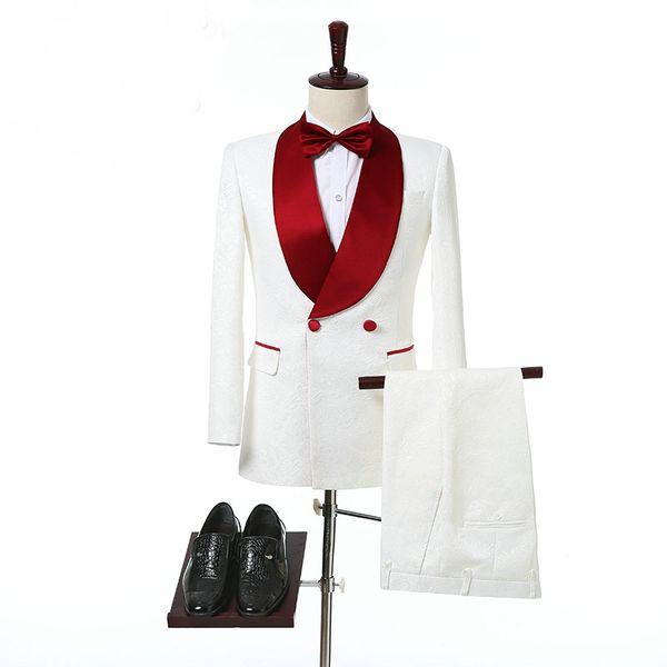 Elfenbein Zweireiher Hochzeit Smoking für Bräutigam Rot Schal Revers Zwei Stück Nach Maß Formale Männer Anzüge (Jacke + Pants)
