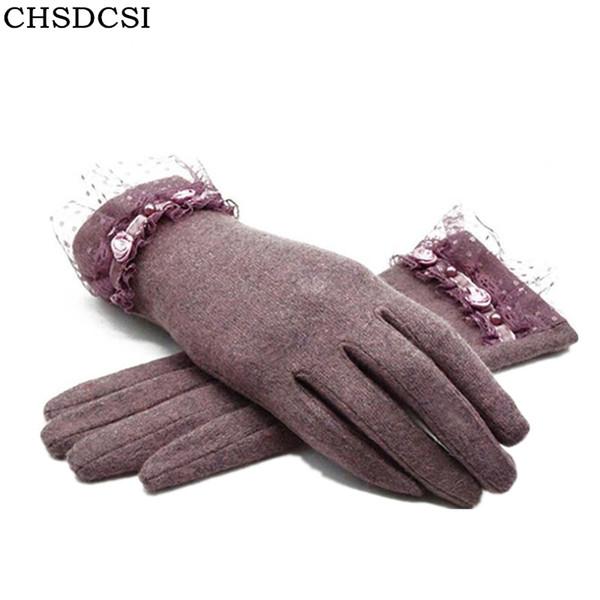 CHSDCSI New Autumn Winter Fashion Ladies Cashmere Gloves Female Fur Wool Mitten Gloves Sweet Elegant All Match Women Grey