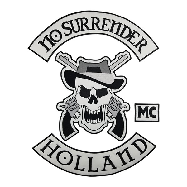NO SURRENDER HOLLAND Motorcycle club Patch MC Embroidered Full Back Large Pattern For Rocker Biker Vest Patches for clothing Free Shipping