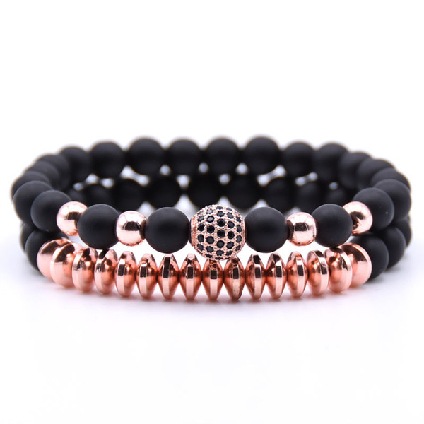 Best Gift 2 Pcs/Set Matte Black Bead Natural Stone Bracelets Sets Couple Bracelet Charm Prayer Bead Bangle Men Women Luxury Jewelry H794F