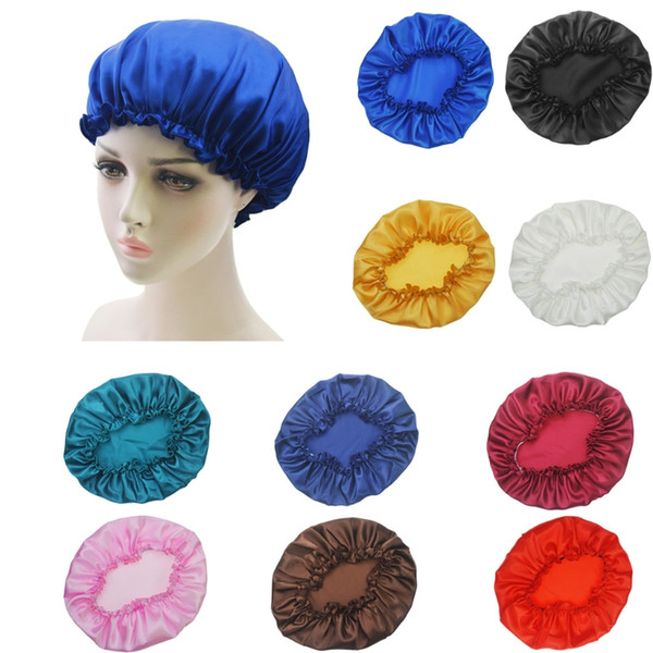 New 1PC Women Sleep Cap Satin Night Bonnet Head Cover Beanie Hat Hair Elastic Cap