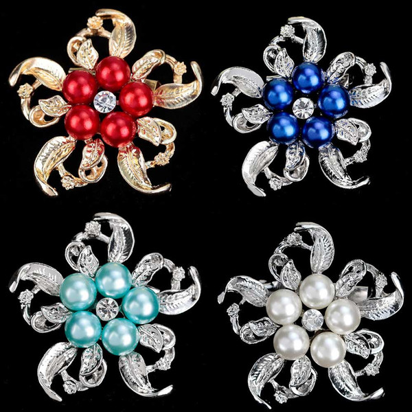Imitation Pearl Crystal Round Flower Brooches Pin For Women Hat Backpack Scarf Accessories Beautiful Wedding Bride Bouquet Buckle Breastpin