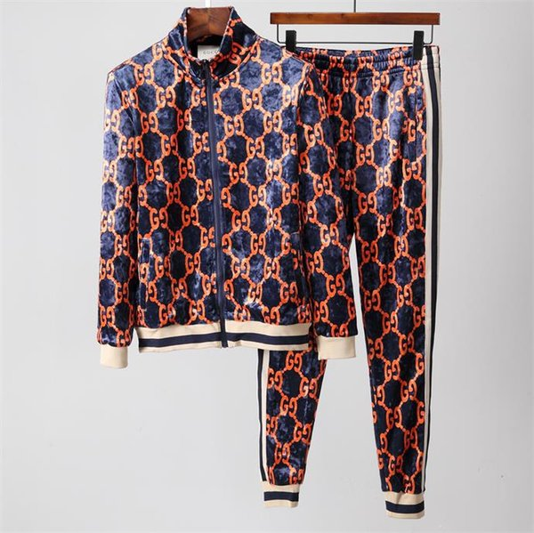 2018 luxury ver ion autumn men clothing fabric triped track uit letter print zipper uit weat hirt coat weat uit 528, Gray