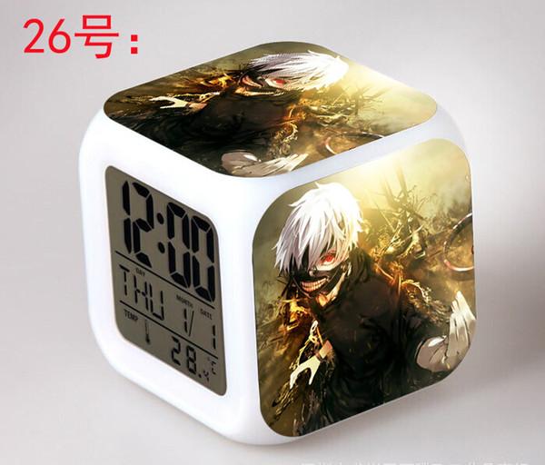Anime Japonais Tokyo Ghoul LED 7 Couleurs Flash Numérique Alarme Horloges Enfants Nuit Lumière Chambre Horloge reloj despertador