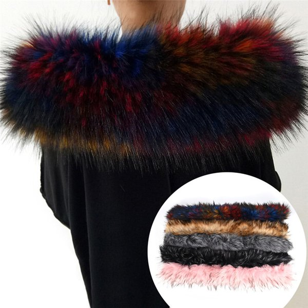 Lady Winter Coat Fur Collar Fur Decor Shawl Multicolor Fake Scarf Women Jacket Hood