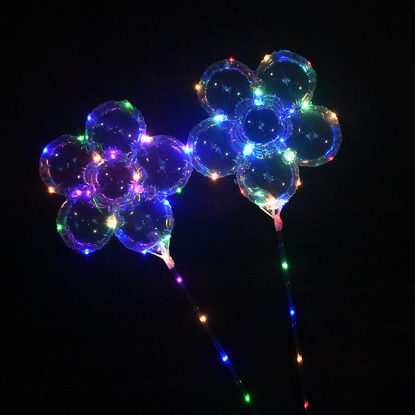 Plum Blossom Flower LED Flash Light Balloon with Handle Stick 3m String Lighted Up Flashing Bobo Ball Festival Wedding Party Decoration