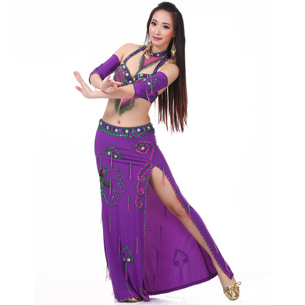 2018 Women Dancewear Professional Costume Outfit Bra Belt Skirts with Necklace armwear Oriental Belly Dance Costume
