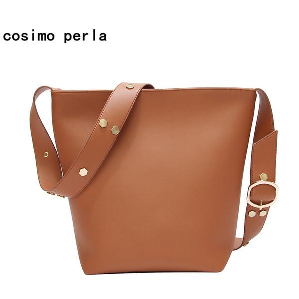 Europe Fashion Big Bucket Handbags for Women Crossbody Bag Sequins Shoulder PU Leather Wide Strap Belt Shopping Totes 2018 Lady