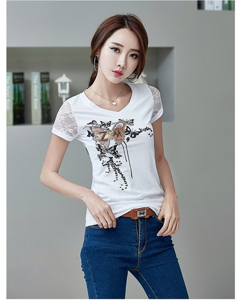 2018 New Summer Woman Stylish Butterfly Printing T Shirts Casual V-Neck Lace Lady Tops EleDiamonds Fashion Short Tees