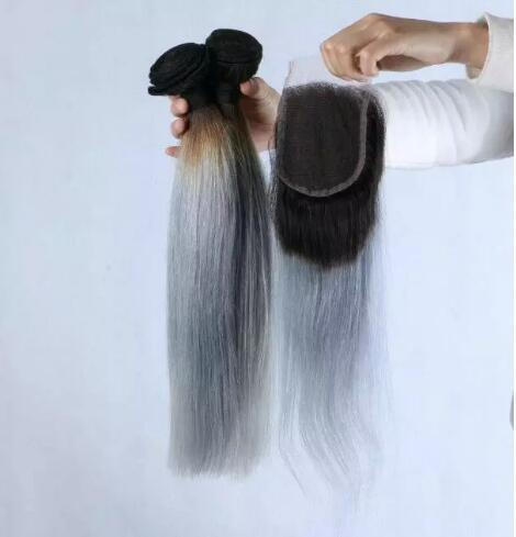 3pcs 1b gray ombre silky straight human hair bundles with lace closure 4x4 dark roots sliver grey ombre two tone hair weave extensions