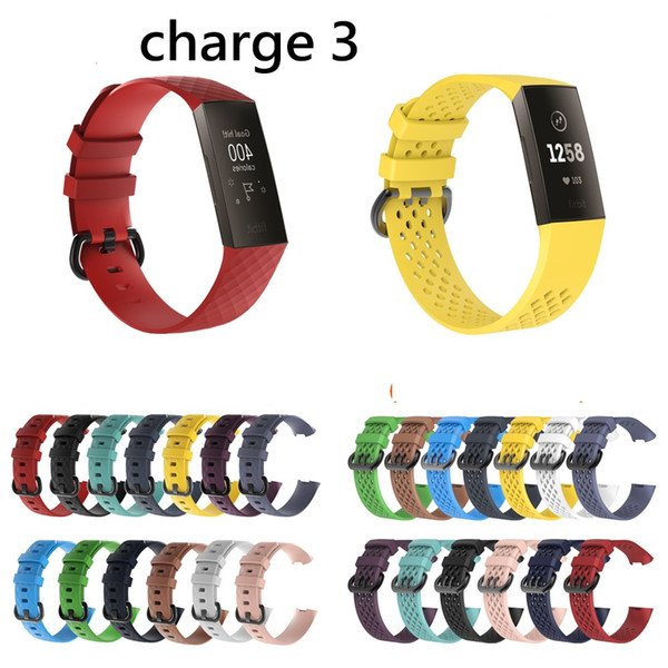 Silicone Watch Band Wrist Strap Replacement Wristband for Fitbit charge3 charge 3 Smartwatch Watchbands 20pcs/lot 13 color