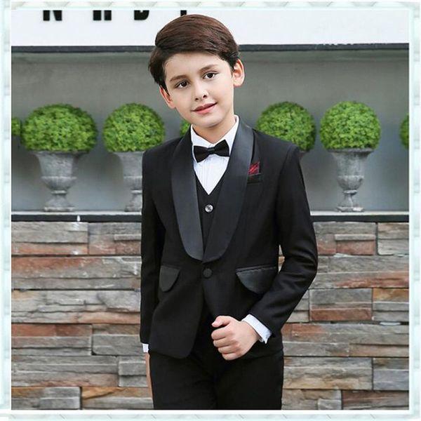 Wedding Men Suits for Flower Boy Children Party Suit Black Kids Blazers 3 Pieces Jacket Pant Vest Satin Shawl Lapel Groomsmen Wear