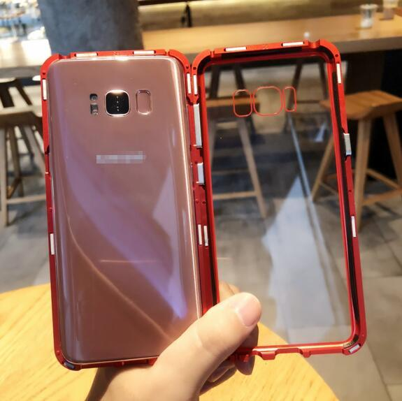 Magnetic Adsorption Metal Phone Case for iPhone X 8 Plus Full Coverage Aluminum Alloy Frame without Tempered Glass Back Cover 2018 New Cases