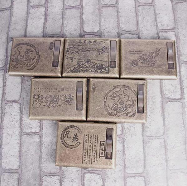 Bronze flower filling, cigar lighter, cigarette box, 20 sets of high-grade pure copper cigarette case, disposable filter tip.