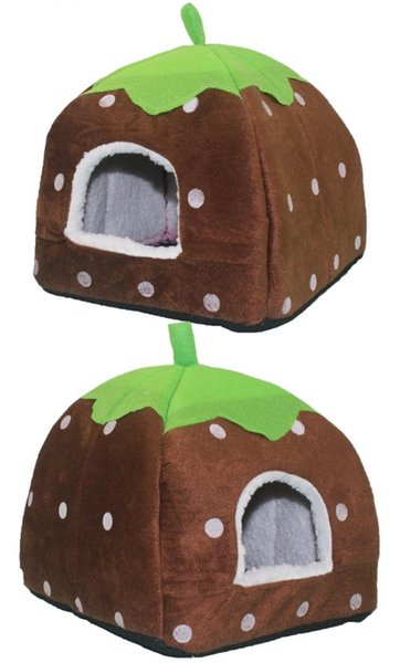Lovely Strawberry Soft Cashmere Warm Pet Houses Puppy Nest Dog Cat Bed Fold-able Houses Grey