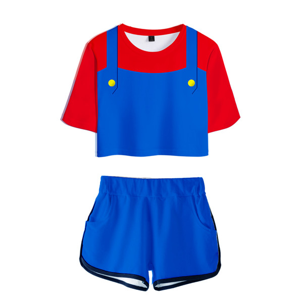 Mario 3D Fashion Sets Woman Suit Girls sexy Streetwear Women Crop Top Shorts Popular Collage style sets kawaii Sexy cloth
