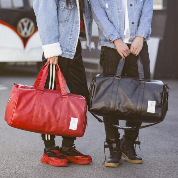 c7d562fd5f Pu Leather Gym Male Bag Top Female Sport Shoe Bag for Women Fitness Over  The Shoulder Yoga Bag Travel Handbags Black Red XA567WD