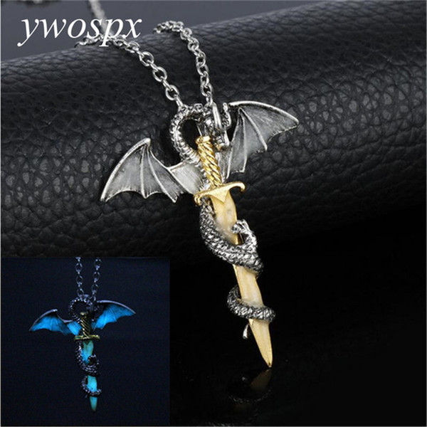YWOSPX Luminous Jewelry Dragon Sword Game Of Throne Pendant Necklace Glow In The Dark Anime Necklaces For Men Christmas Gifts
