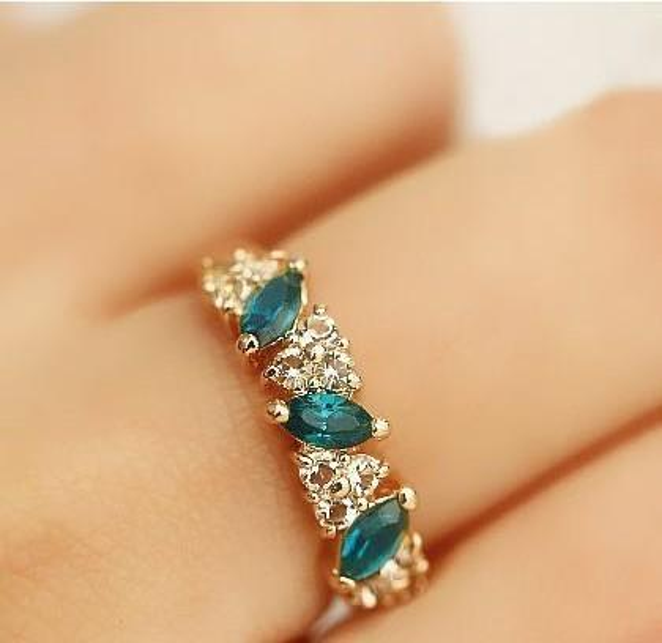 Heat Restore Ancient Ways Combine Gold Ring Fashion Sweet Flash Drill Ring Popular