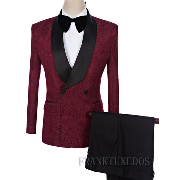 2 Piece Custom Made Shawl Collar Men Suits Wine Red Tuxedo Jacquard Suits with Pants Slim Groom Suit Mens Formal Wedding Dress