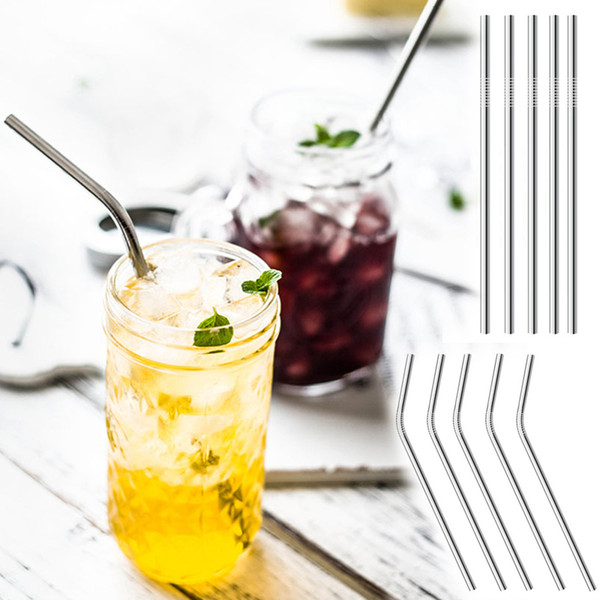 top popular 30oz 20oz Stainless Steel Straws Reusable Straws Straight Curved 304 Metal Straws Different Size Drinking Tool For Beer Fruit Juice Drink 2020
