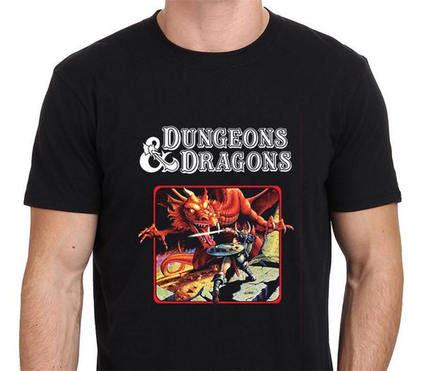 Novidade Camisetas Duneons Dos Homens Dragões Curto Impressão O-pescoço Camisa