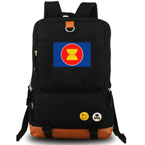 Southeast Asian backpack ASEAN day pack Nations school bag Casual packsack Computer rucksack Sport schoolbag Outdoor daypack