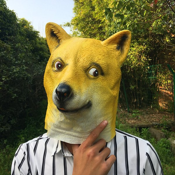 Hot Super Creepy Funny Head Doge 3D Latex Mask Cosplay Halloween Costume Party Halloween Decorations Funny Yellow Dogs Mask