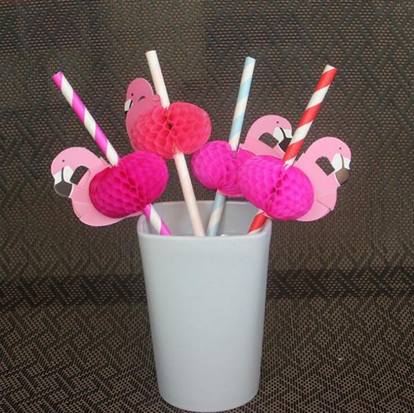 Biodegradável palha de papel flamingo tarja de palha de casamento crianças festa de aniversário suprimentos bar decoração 50 pçs / lote bolo pop adesivos