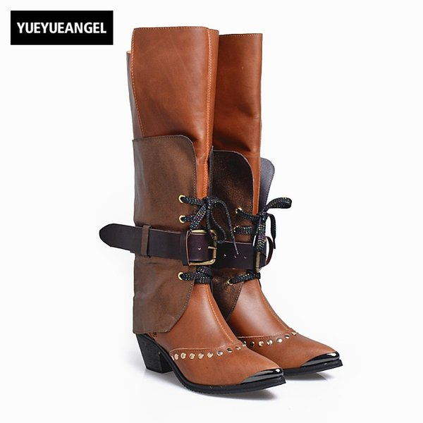 cc4aa960bb6 Winter 100% Real Leather Over The Knee Boots Women Luxury Light Bronw Rivet  Thigh High Boots Pointed Toe Thick Heels Shoes 34 40 Boots Sale Wedge ...