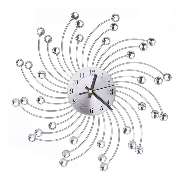 European Style Indoor Metal Wall Clock Decorative Clock Diamante Quartz Silent for Living Room Bedroom