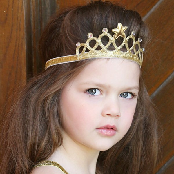 Little Girls Princess Headbands Cute Hairband Kids Crown Headband Gold and silver Hair Band Accessories Glitter 1 Pcs FK-279