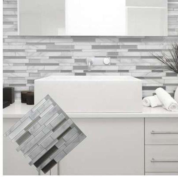 Blanco gris mármol Mosaico pelar y pegar azulejo de la pared autoadhesivo Backsplash cocina DIY baño etiqueta de la pared etiqueta engomada del vinilo 3D