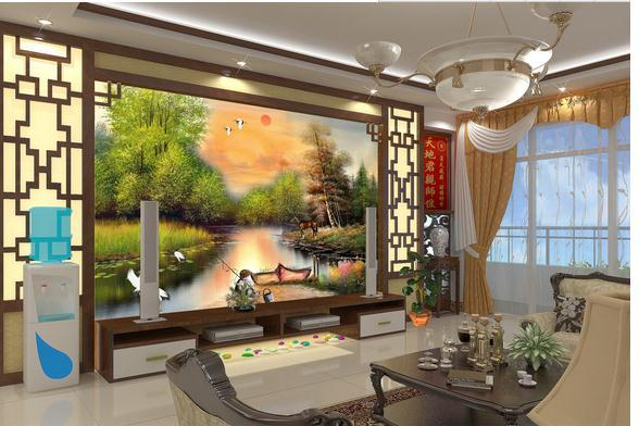 Wholesale-3D photo wallpaper custom 3d wall murals wallpaper oil painting watercolor living room TV background wall landscape painting