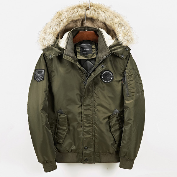 2018 Winter  Jacket Thick Fur Collar Hooded Parka Army Pilot Pocket Windproof Coat Mens Windbreaker Clothing Green WS101