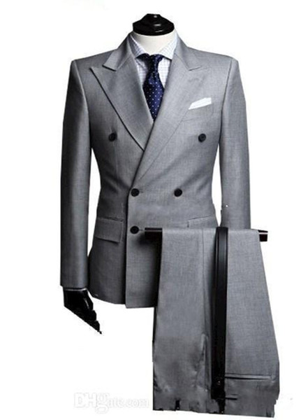 2018 Nouveau Double-Breast Side Vent Gris Clair Groom Tuxedos Peak Revers Groomsmen Hommes De Mariage Tuxedos Costumes De Bal (Veste + Pantalon + Cravate)